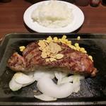 いきなり!ステーキ - US産アンガス牛サーロインステーキ200g1600円、ライス200円
