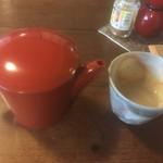 そば処 あじき堂 - 鶏トマトそばにもそば湯が付いてきて、とてもうれしい!