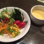 52450508 - サラダ&コーンスープ