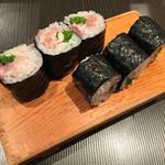 寿司源 藤沢大庭店 - ネギトロ巻き  ネギは芽ネギ使用で、食感が最高でした✨