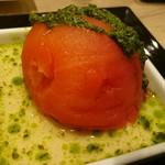 52459351 - 丸ごとトマトのあっさりコンソメ煮ジェノヴェーゼソース