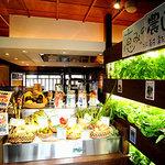 大地の台所 恵み - 店内に入ると店内栽培の水耕野菜や産直野菜がお出迎え