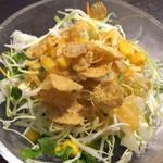 52470554 - 定食のサラダ ドレッシングが胡麻か野菜ドレッシングか塩胡椒が選べます。