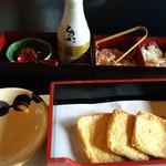 52473911 - 油揚げのあぶり 鰹節・茗荷・葱・特製味噌と醤油。