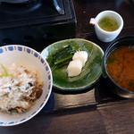 皆美 - 鮎の炊き込みご飯、赤出汁、お新香、銀餡