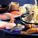 海鮮蔵 魚魚魚 - 上にぎり寿司天麩羅定食