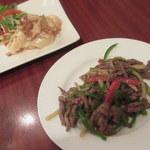 點心茶室 - 海老のマヨネーズソース・牛肉とピーマンの細切り炒め