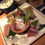 男魚魚 - 刺し盛り。この日は9点盛りで 980円‼︎