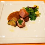 リストランテ ル・ミディ ひらまつ - PRANZO B(ヤマトポークのロースト 柔らかく煮込んだバラ肉のクロケッタ 季節のグリエ野菜と共に)