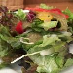 カフェクッカ - 新鮮サラダもボリュームたっぷり、ドレッシングも美味しいです(2016.6.21)