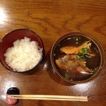 海の幸 - わらじ海老は味噌汁にしてご飯と提供してくれた