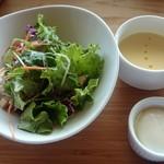 52528295 - 6/21 サラダセット(野菜サラダ、冷製コーンポタージュ、温泉卵)