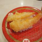 はま寿司 ららぽーと甲子園店 - 海老天♪卓上にある藻塩で頂きます。