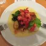 アガノ - スズキのポワレ ガーリック&トマトソース