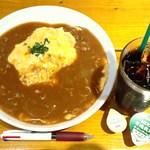 GROUND DINER - 平飼い卵のふわとろオムライス+有機アイスコーヒー 880+α→540円