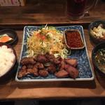 鉄火 - 牛W焼肉定食(肉1.5倍、1,000円)