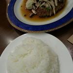 プティヴェール - きのこのおろしポン酢ハンバーグ&大盛りライス(ランチ)2016.6.22