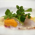 プリンチピオ - 函館産鮃のカルパッチョ 雲丹とレッドビーツ添え トマトのジュレ
