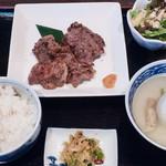 福光 - 豚ハラミ定食(麦めし・豚軟骨スープ・漬物):850円/2016年6月(ランチメニュー