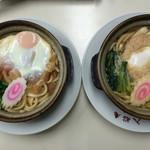 入船庵 - 味噌煮込みうどん・大(左)と普通