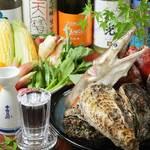 ひろしま 備後 - おすすめ!ハモ料理と夏野菜を活かした4,500円コース(料理8品・2時間飲み放題付)の一例。