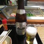 青柳 - 続いて瓶ビール 600円 (2016.6)