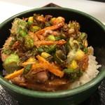 ゆで太郎 - 枝豆とゲソ天の丼