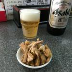 中華屋 光 - 「瓶ビール(大)」500円(おつまみ付き)