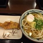 丸亀製麺 - かけ1玉290円+温玉60円+かしわ天130円(全て税込)