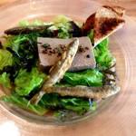 Maison Michel - 前菜:鮎のパテ 稚鮎のフリット添え、全景。緑の海を泳ぐ稚鮎が目にも楽しい。