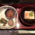52712416 - 手作り豆腐 空豆餡かけ 中華くらげと煮物盛り合わせ