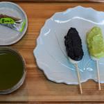 とよまだんご - だんごセット(ずんだ・ごま、抹茶入りせん茶):430円/2016年6月