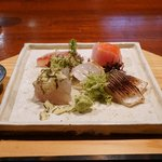 いち - イサキ、金目鯛、正才フグ、フッコの昆布〆、かます焼露