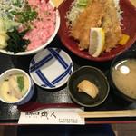 52734325 - 2種丼にフライのセット@1760円                       シラス入り茶碗蒸し、しじみ味噌汁、お新香付き
