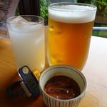 北近江リゾート ラウンジ - 料理写真:生ビール(中)と一品(700円)