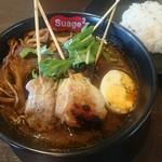 スープカレー スアゲ2 - パリパリ知床鶏と野菜のカレー(1,150円)