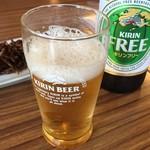 なか川 - 先ずはビール。ノンアルコールです。