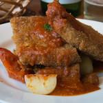 サンジャン・ピエドポー - ハーブ三元豚ロースのパン粉焼き ピペラードソース