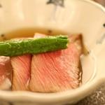 日本料理 晴山 - 飛騨牛ローストビーフと翡翠茄子