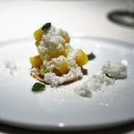 オルグイユ - ローイゲーオ風 凍らせたパイナップルとサワークリームのパウダー