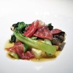 オルグイユ - 賀茂茄子を2種の調理で 穴子のグリエと榛原牛の生ハム添え