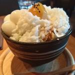 52776966 - わらび餅と白玉と抹茶アイスのkawaraパフェ ~ふわふわかき氷のせ~