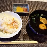 湖上館PAMCO - カニの炊込み御飯とお吸い物、香の物