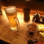 七べえ - 生ビールと付きだし
