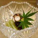 鮓廣嶋 - 先付は、明石蛸の旨煮、冬瓜とフキも美味しく作られています