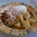 スカイラウンジ暁 - 鶏肉と玉ねぎとじゃがいもの煮物でスープカレーみたい。確かビルマ料理。ごまとチーズを麺類のカウンターへ言ってプラスしました(笑)