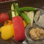 バル和 - 新鮮野菜のバーニャカウダ風、越後味噌ディップ付
