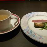 茨木グリル - 味噌汁&前菜