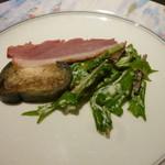 茨木グリル - 前菜(鴨スライス.なす漬物.サラダ)