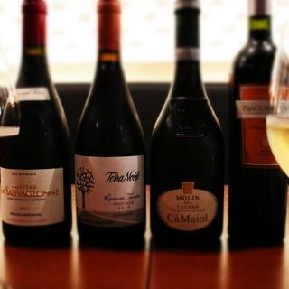 豊富なワイン♪高級ワインもグラスでご提供!